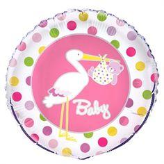 Baby ballon til pige. Køb balloner til Barnedåb som pynt eller gave. Fyld dem med helium fra Partybutikken. Balloner #balloons
