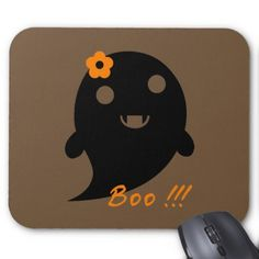 "Cute Ghost With Flower And Word ""Boo"" Mouse Pad - diy cyo customize create your own personalize"