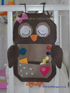 (4) Nome: 'Crocheting: Coruja Treasure Organizador