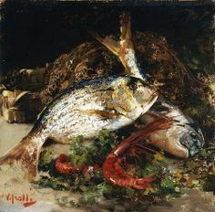 Vincenzo Irolli - Sill Life with Fish  VINCENZO IROLLI (Napoli, 1860 – Napoli, 1949)