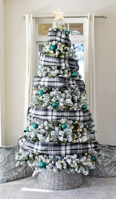 Flocked Christmas Tree Decorated With Flannel Scarves, easy DIY holiday idea!