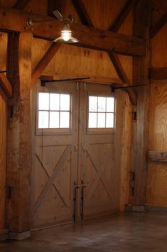 Our fine woodworking group crafted the garage doors to mimic those used 'back when'.