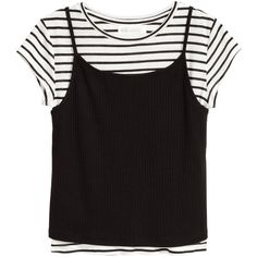 Double-layered Top $14.99 (275 MXN) ❤ liked on Polyvore featuring tops, shirts, t-shirts, blusas, jersey shirt, black and white stripe top, black white striped shirt, black and white jersey shirt and black and white striped shirt