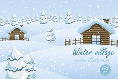 Winter village illustrations by JuliaBadeeva on @creativemarket