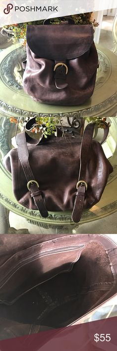 Vintage Coach Distressed Brown Leather Backpack Very Good Condition - inside open flap has been restitched - Smoke free home coach  Bags Shoulder Bags