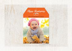 Thanksgiving Printable Gift Tag - Personalized with Name and Photo by customaed on Etsy - www.customaed.com