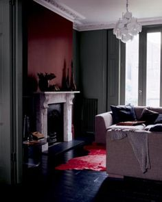 Home Decor - Burgundy and Gray Wall Paint - Very Chic Room