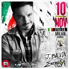 2016 - J BALVIN, Nov. 10 in Milan; tickets are available in Vicenza at Media World, Palladio Shopping Center, or online at www.ticketone.it, www.vivaticket.it, www.iconamusic.it, and www.geticket.it