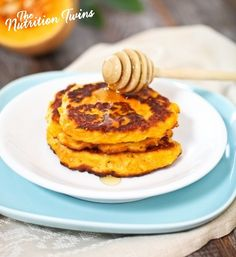 Pumpkin Pancakes | Light, Fluffy & Moist & Creamy on The Inside, Crispy Outside | Protein & Fiber-Packed | YUM! | For MORE RECIPES please SIGN UP for our FREE NEWSLETTER www.NutritionTwins.com