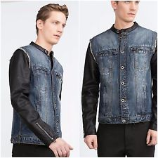 1932231834 Collars, Denim, Leather Sleeves, Zara Man, Stuff To Buy, Jackets, How To  Wear, My Money, Clothes