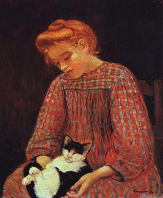 "Charles Camoin (French painter, 1879 - 1965)  ""La fille au chat"""