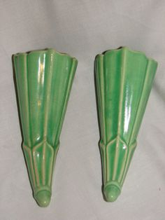 Pair Vintage McCoy Green Wall Pocket Marked Made in USA | eBay