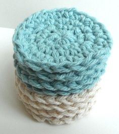 Cotton crochet face scrubbies 7 for $7.00 These face scrubbies are perfect for washing your face because of the soft texture, great for the kids and soft enough to use on babies. These face scrubbies are made with a single thickness of 100% cotton yarn.