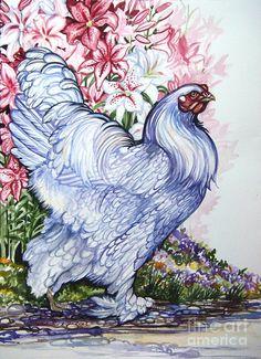 Lavender Hen Oriental Lilies ~ Anne Shoemaker-Magdaleno ~ Watercolor