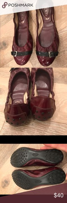 Tod's Patent Flats Burgundy patent Tod's Flats. Bought on here to get the size, never worn by me. No original purchase info. Soles in great condition, toes have a bit of wear that is shown. Happy poshing. No returns, refunds, exchanges. All sales final, please ask questions prior to purchase. Tod's Shoes Flats & Loafers