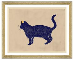 Adding a whimsical note to your decor, this cat is sure to be the life of any party. This work is printed on premium archival matte paper and arrives ready to hang in a golden wood frame.
