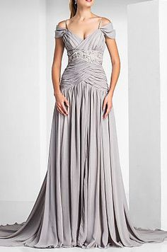 A-line Off-the-shoulder Court Train Chiffon Evening Dress