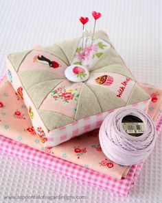 "Pretty Pincushion | A Spoonful of Sugar pattern taken from ""Patchwork Please"" book"