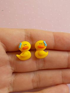 This is a cute pair of earrings created from polymer clay without molds or forms, with yellow ducks. The lenght of each earring is 1.2 cm. ❀ Price is for one pair of earrings. ❀ I ship the orders very quickly, in 1 to 3 days after I receive your order. I ship them with priority mail and the