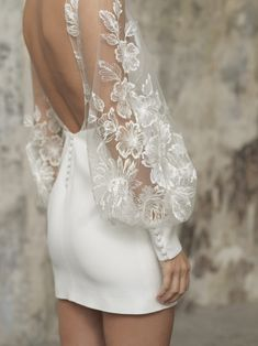 Rime Arodaky Lisa short white wedding bridal dress with modestly V neck and balloon puffy lace sleeves with floral motives. Mini Wedding Dresses, Bridal Dresses, Wedding Gowns, Elegant Dresses, Pretty Dresses, Beautiful Dresses, Civil Wedding, Short Dresses, Formal Dresses