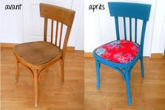 Dress up a wooden chair with this DIY proposed by the agenda of the Nantes . Reupholster Furniture, Furniture Making, Chair Makeover, Furniture Makeover, Painted Chairs, Painted Furniture, Bois Diy, Chaise Vintage, Diy Sofa