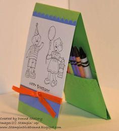 Birthday card for Any Child....use any fun stamps...and make a pocket for the crayons.