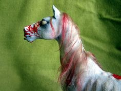 "Zombie horse ooak polymer clay horror sculpture ca.6.69""x7.09"" nightglowing eyes white red blue acrylic paint"