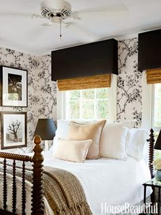 Designer Tobi Tobin's Farmhouse - Design Chic gorgeous black and white bedroom would be a great guest room, wallpaper and valances