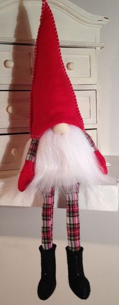 Handmade Scandinavian Tomte - Red & Tartan Gnome - Felt & White Fur Ornament