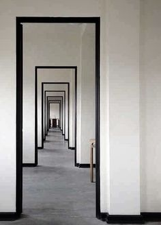 Black and white corridor frame