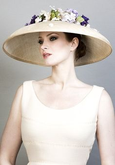 R1683 - Natural fine straw bell hat with delicate flowers