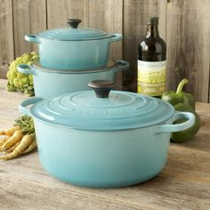 Le Creuset, I want a set! And a gas stove please Allen! Lol