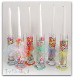 Conversation heart candy holders from a Valentine's Party #valentine #candles