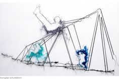 another piece by Debbie Smyth - drawing or stitch?      Stitch..swinging was always my favorite at the play ground.
