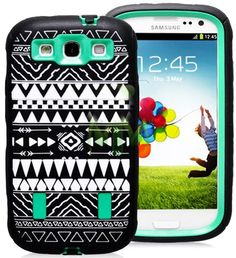 "myLife (TM) Black and Mint Green - Tribal Print Armor Series (Durable Built in Screen Protector + Urban Body Armor Glove) Case for Samsung Galaxy S3 GT-i9300 and GT-i9305 Touch Phone (Thick Silicone Outer Gel + Tough Rubberized Internal Shell + myLife (TM) Lifetime Warranty + Sealed In myLife Brand Packaging Only) ""ATTENTION: This case comes with a built in screen protector similar to the Otterbox brand and will protect your screen from water damage and other potential problem"" myLife Brand…"