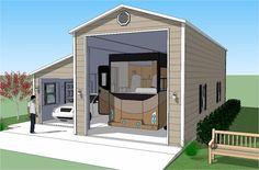 Bradley Mighty Steel RV Garage for sale, RV Shelter pricing Metal Shop Building, Steel Building Homes, Building A House, Rv Garage Plans, Garage Ideas, Rv Shelter, Shelters, Rv Carports, Built In Storage