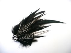Black with B&W Grizzly Feather Hair Clip