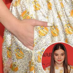 Hailee Steinfeld's white nails with glitter tips at the CFDA Awards.