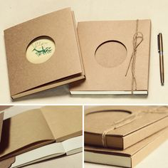 190x175mm blank kraft cover nuded DIY notebook / off-white or kraft paper inside options $10.35