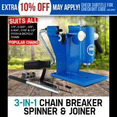 NEW Chain Breaker Joiner Link Spinner Combo Unit Chainsaw Cut Saw Bench Mount