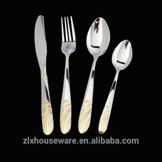 Factory direct sales stainless steel gold plated cutlery dinner spoon knife and fork Gold Cutlery, Cutlery Set, Spoon Knife, Stainless Steel Cutlery, Direct Sales, Fork, Polish, Dinner, Mirror