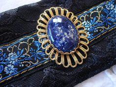 Black Blue Gold Fabric Cuff Bracelet by KittensOriginals on Etsy, $40.00