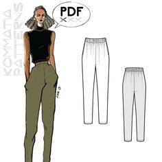 Stay classy inside and outside the house! These sleek jogger pants has an elasticated, high waist with lots of gathering, swing pockets and a tapered leg. Make them in no time using a soft jersey instead of a bulky terry cloth. Diy Jogger Pants, Joggers, Sewing Pants, Sewing Clothes, High Waisted Dress Pants, Diy Vetement, Patterned Jeans, Soft Pants, How To Make Clothes