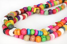 Wooden beaded necklace colorful multicolor by asteriascollection, $12.00