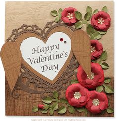 $Fleurs de Papier ~クラフトパンチや花紙で作る立体のお花いろいろ~-クラフトパンチフラワーでバレンタインカード