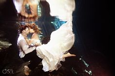 Riviera Maya Cenote Trash the Dress, underwater romance!  Mexico photographers Del Sol Photography