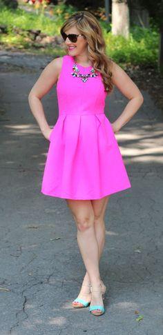 Sarah with Sew Sarah R in TeodoraB.com pink flared dress