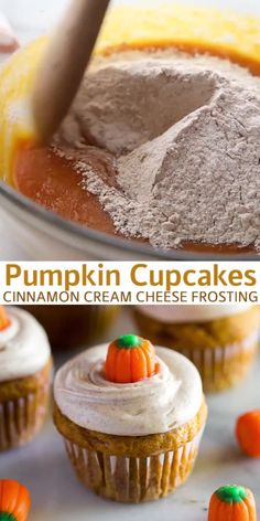 Super light and moist Pumpkin Cupcakes topped with cinnamon cream cheese frosting and a pumpkin candy for a fun and easy fall dessert! Cupcake Cream, Cream Cheese Desserts, Cupcakes With Cream Cheese Frosting, Pumpkin Cream Cheeses, Cinnamon Cream Cheese Frosting, Strawberry Cream Cheese Frosting, Diy Cupcake, Strawberry Cupcakes, Buttercream Frosting