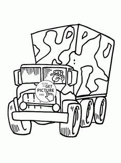 Cartoon Military Truck Coloring Page For Kids Transportation Pages Printables Free
