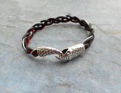 Dark brown with red leather bracelet / by JHFWBeadsAndFindings
